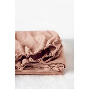 Cearșaf elastic din in Linen Tales, 90 x 200 cm, maro teracotă poza bonami.ro