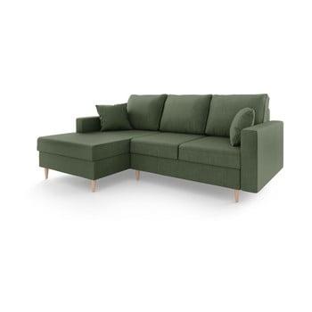 Canapea extensibilă cu spațiu de depozitare Mazzini Sofas Aubrieta, pe partea stângă, gri - verde imagine