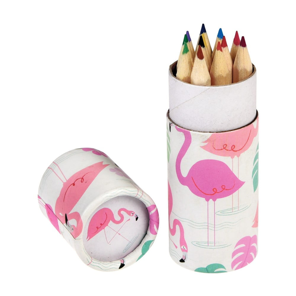 Set de 12 de creioane în tub decorativ Rex London Flamingo Bay