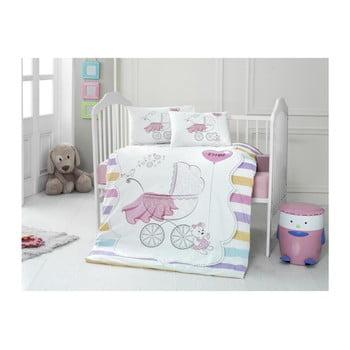 Set lenjerie cu cearșaf din bumbac pentru copii Pastel, 100 x 150 cm bonami.ro