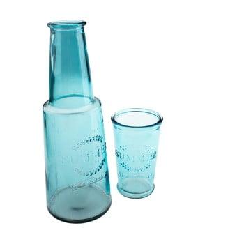 Carafă din sticlă cu pahar Dakls, 800 ml, albastru poza bonami.ro