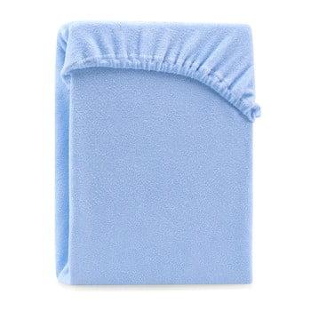 Cearșaf elastic pentru pat dublu AmeliaHome Ruby Siesta, 200-220 x 200 cm, albastru deschis bonami.ro