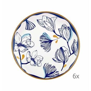 Set 6 farfurii din porțelan pentru desert cu model de flori albastre Mia Bleu Pasta, ⌀ 19 cm, alb bonami.ro