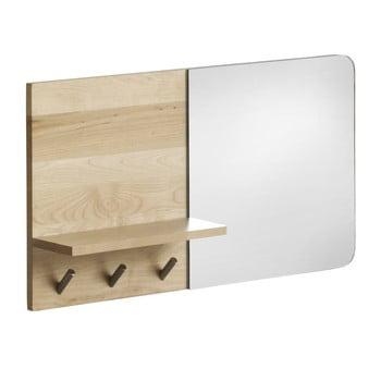 Oglindă de perete cu raft din lemn de mesteacăn Geese Stockholm bonami.ro