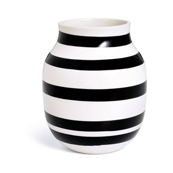 Vază din gresie ceramică Kähler Design Omaggio, înălțime 20 cm, negru - alb poza bonami.ro