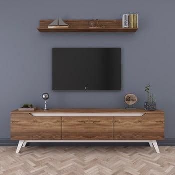 Set comodă TV cu 3 uși rabatabile și etajeră de perete Rani Natural, natural poza bonami.ro