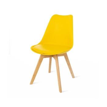 Set 2 scaune cu picioare din lemn de fag loomi.design Retro, galben poza bonami.ro